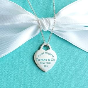Heart tag with blue enamel letters necklace